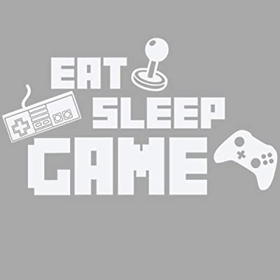 "BIBITIME DIY English Sayings Quotes EAT Sleep Game Wall Decal Keyboard Handle Silhouette Sticker for Boys Bedroom Kids Room Decor Internet Bar Art Mural (White, DIY 15.74"" x 27.56""): Home & Kitchen"