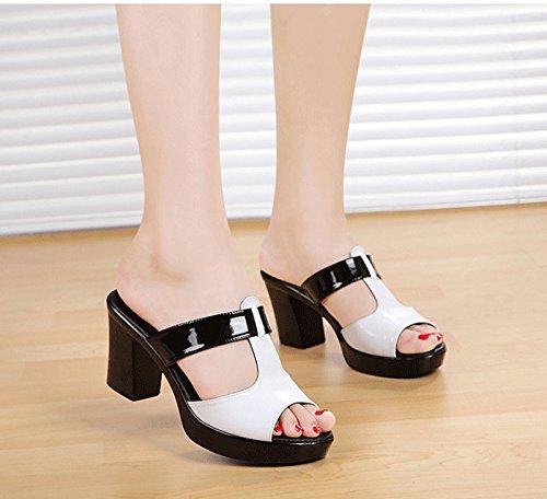 SFSYDDY-De Plata De Las Mujeres Zapatillas De Verano De 7 5 Cm Fondo Grueso Grueso Con Madre Cool Zapatillas Las Mujeres Zapatos De Plataforma De Ocio Impermeable Treinta Y Ocho Forty-one