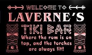 pmg455-r Laverne's Tiki Bar Mask Beer Pub Neon Light Sign