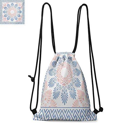Greek KeyPastel Pink White and Blue Round Floral Grecian Fret Hellenic OrnamentSuitable for school or travel W13.8 x L17.7 Inch Baby Blue Blush -