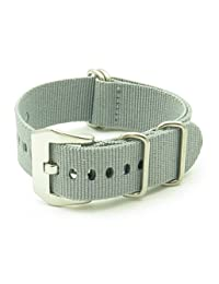 StrapsCo 20mm Premium Grey Nato Zulu G10 Ballystic Nylon Watch Strap with Pre-V Buckle
