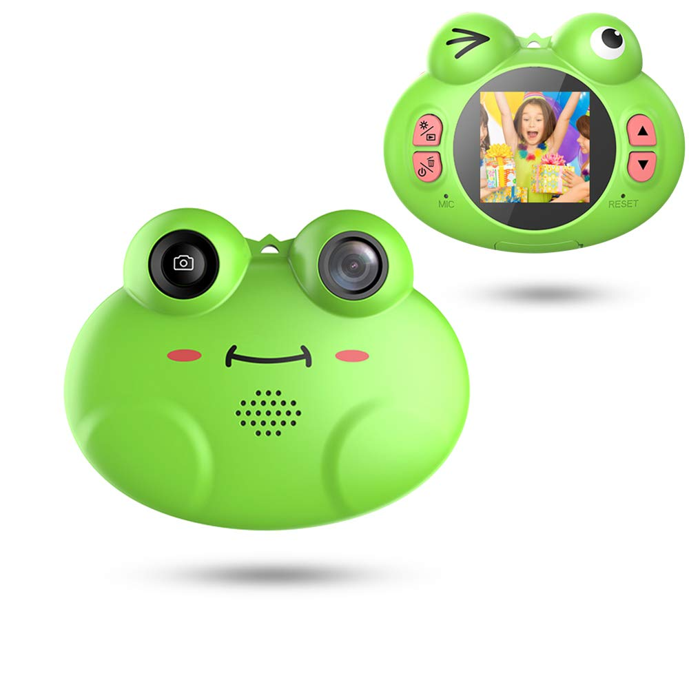 GordVE Digital Camera for Kids, Cute Cartoon Frog Design Portable Compact Anti-Shake Rechargeable with Games DIY Video Effects Kids Camera, 8X Digital Zoom Camera Flash Mic for Girls/Boy