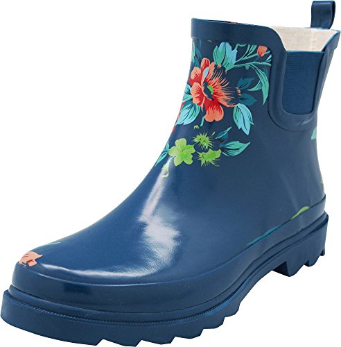 NORTY - Womens Ankle High Floral Rain Boot, Teal Blue 40679-11B(M) US by NORTY