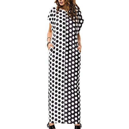 Vestido para Mujer Casual Boho Polk Puntos Maxi vestido Atractivo Suelto Vestido Largo Negro
