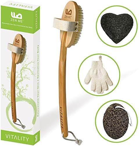 Premium Dry Brushing Body Brush for Exfoliating Dry Skin to Get Glowing Tighter Skin - Body Brush Set Includes Exfoliator Gloves, Pumice Stone and Konjac Sponge