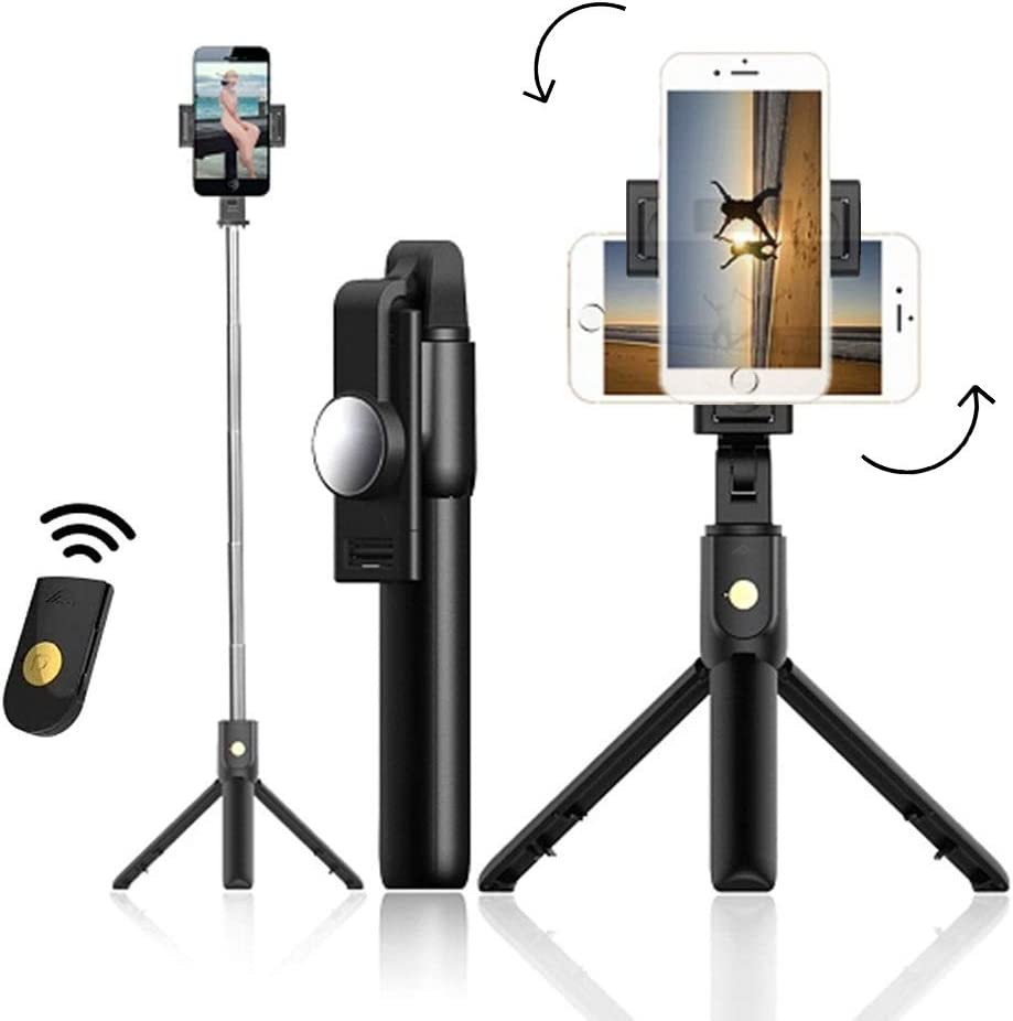 Selfie Stick Tripod Stands, Extendable Bluetooth Selfie Stick by EXKOKORO with Wireless Remote Compatible with iPhone 11/11 pro/X/8/8P/7/7P/6s/6, Galaxy S10 Plus/S9 Plus/Note9, Huawei, More(Rotatable)