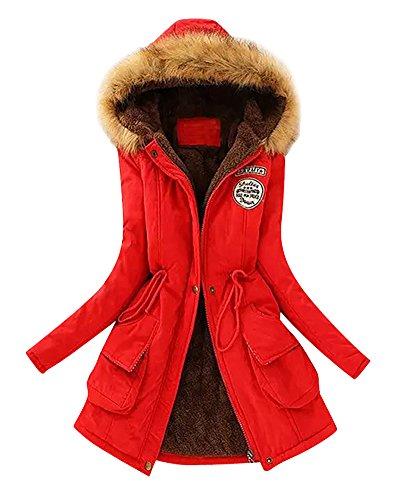 Cappuccio Pelliccia Giacca di Lungo 1 Con Parka Coulisse Lunghe Maniche Cappotto Rojo Ecologica Calda Donne YgIBxI