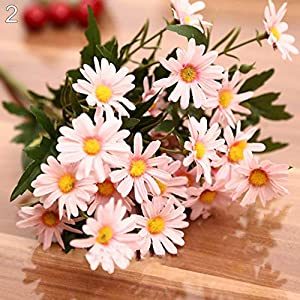 Potelin Premium Quality 1 Bouquet 9 Heads Artificial Daisy Flower Plant Outdoor Indoor Wedding Decor - Pink 6