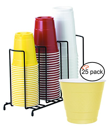 TigerChef TC-20405 3-Section Cup and Lid Organizer Wire Rack with 25 Yellow Disposable 9 Oz Plastic Party Cups and Breakroom Organizer Countertop Cup Dispenser
