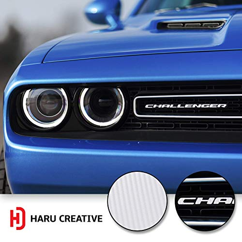 Haru Creative - Front Grille Hood Emblem Badge Nameplate Overlay Vinyl Decal Sticker Compatible with and Fits Dodge Challenger 2015 2016 2017 2018 - Carbon Fiber White