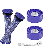4 Pack Vacuum Filter Replacement Kit with Clean Brush for Dyson V8 Absolute, V8 Animal, V7 Absolute, V7 Motorhead, V7 Animal - 2 HEPA Post Filter, 2 Pre Filter, Replaces Part # 965661-01 & 967478-01