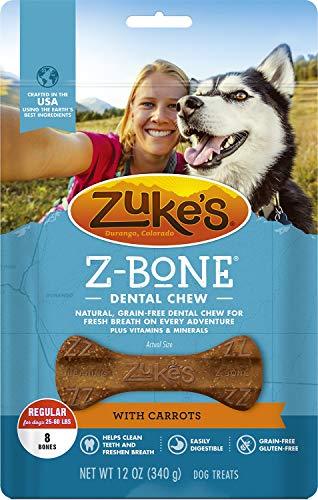 Bone Carrot (Zuke's Z-Bone Dental Dog Chew with Carrots, Regular, 8 Count, 4 Pack)