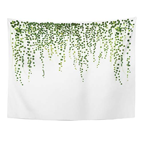 Ivy Climbing Vines (Emvency Tapestry Wall Hanging Art Nature Home Green Hanging Ivy Wall Greenery Climbing Plant Leaves Leaflet Stationery Vine for Living Room Bedroom Dorm Decor in 60 x 80 Inches)