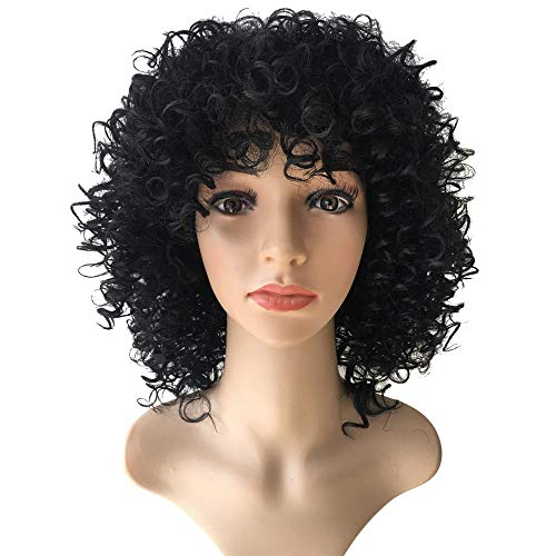 Huitian23 Woman Mens Long Curly Black Hard 80s Rocker Wig Themed Party Wig Halloween Costume Anime Wig (27 inch, -