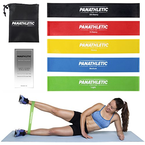 Resistance Loop Bands/Exercise Bands/Fitness Bands, Set of 5, with Exercise Guide, eBook, and Carry Bag – 5x power body band, workout bands for yoga, rehab, crossfit, strength training, pilates