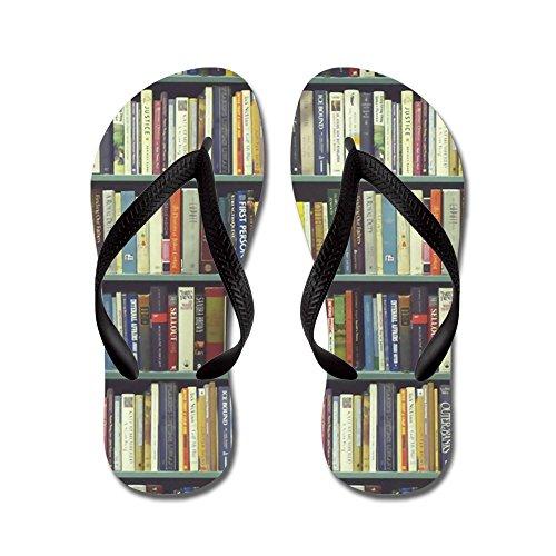 Cafepress Bookshelf7100 - Chanclas, Sandalias Thong Divertidas, Sandalias De Playa Negras