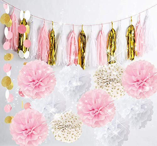 (Qian's Party Baby Pink Gold White Baby Shower Decorations for Girl/Party Decorations First Birthday Decorations Tissue Paper Pom Pom Tassel Garland Circle Paper Garland Bridal Shower Decor)
