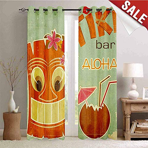 Mask 40' Tiki Bar Decor - Tiki Bar, Blackout Draperies for Bedroom, Invitation to Tiki Bar Old Fashion Display Coconut Drink Mask and Flowers Print, Thermal Insulating Blackout Curtain, W96 x L108 Inch Multicolor