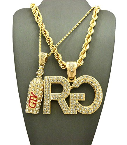 ICED OUT GTV BOTTLE & RICH GANG 'RG' PENDANT & ROPE CHAINS NECKLACE SET RC2095G