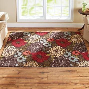 Amazon.com: Better Homes And Gardens Sorbet Faux Hook Floral Rug,  Multi Color U00275u0027 X 7u0027u0027: Kitchen U0026 Dining