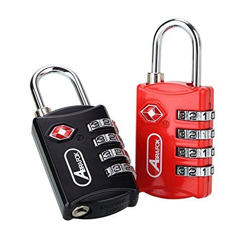 (ABRA FOX TSA Approved Lock,2-Pack Luggage Locks,4 Digit Combination Travel Padlocks,Password Locks Black+red 2 Pack)