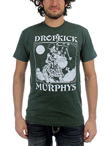 Dropkick Murphys - Mens Vintage Skeleton Piper T-Shirt, Size: Medium, Color: Forest Green (Celtic Mens Boots)