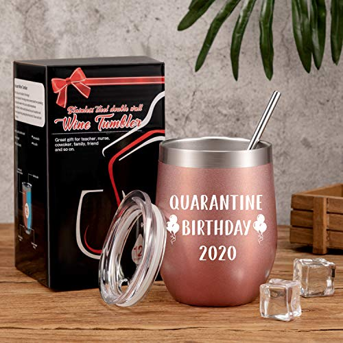 Quarantine Birthday Gifts 2020 Quarantine Tumbler Mug Funny Social Distance Stay at Home Gift for Women with Straw and…