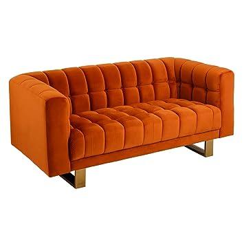 Sofá tapizado de Terciopelo Naranja de 2 plazas Moderno para ...