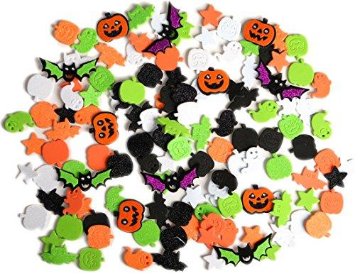 LightShine Products 132 Piece Halloween Theme Assortment Bundle of Peel & Stick Foam Glitter Stickers