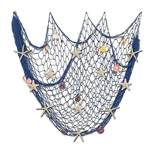 Fangoo 79 x 59 inch Nature Fish Net Wall Decoration with Sea Shells and 10 pcs Natural Starfish Mediterranean Style Decor Wall Decoration