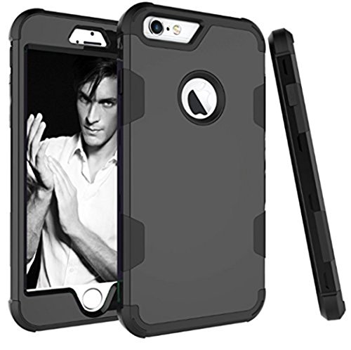 Price comparison product image Beryerbi iPhone 6/6s Case Hybrid Slim With Hard PC and Soft TPU Cover For Apple 6S & iPhone 6 (Black+Black, iPhone 6/6s)