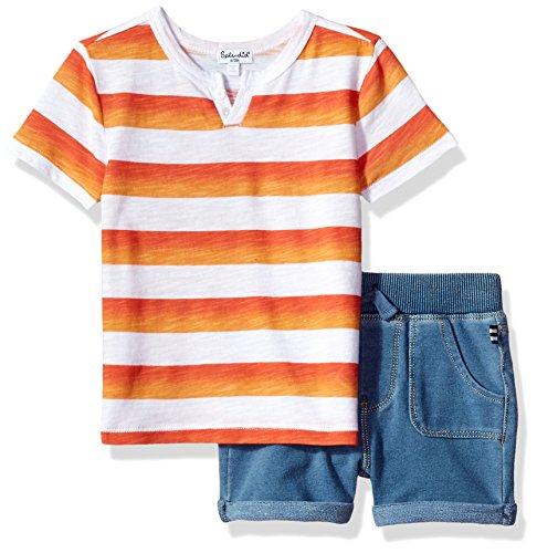 - Splendid Baby Boys' Ombre Printed Stripe Short Set, Orange 3/6