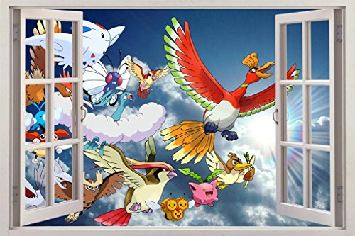 SKY POKEMON 3D Window View Wall Decal
