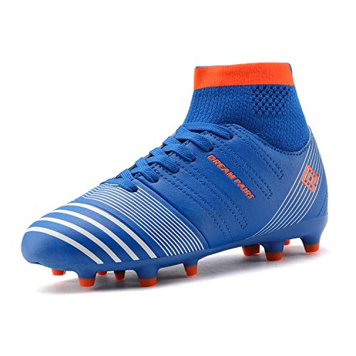 DREAM PAIRS Boys Girls HZ19005K Royal Blue Orange Soccer Football Cleats Shoes Size 4 M US Big Kid