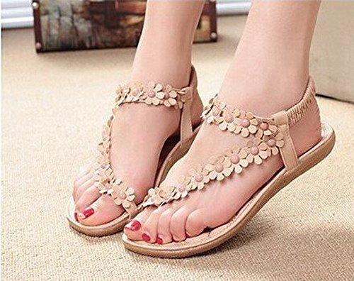 Sandales Amata Bohème Chaussures Pour Femmes Strass Fleur. (5, Beige) Beige