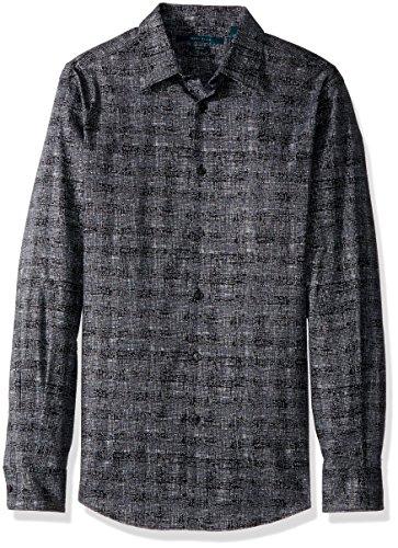 Perry Ellis Button Down Dress Shirt (Perry Ellis Men's Long Sleeve Graphic Linear Print Shirt, Black, Large)