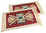 Splendid Exchange Southwest Style Woven Cotton Stencil Placemats Set of 2, Geometric Red