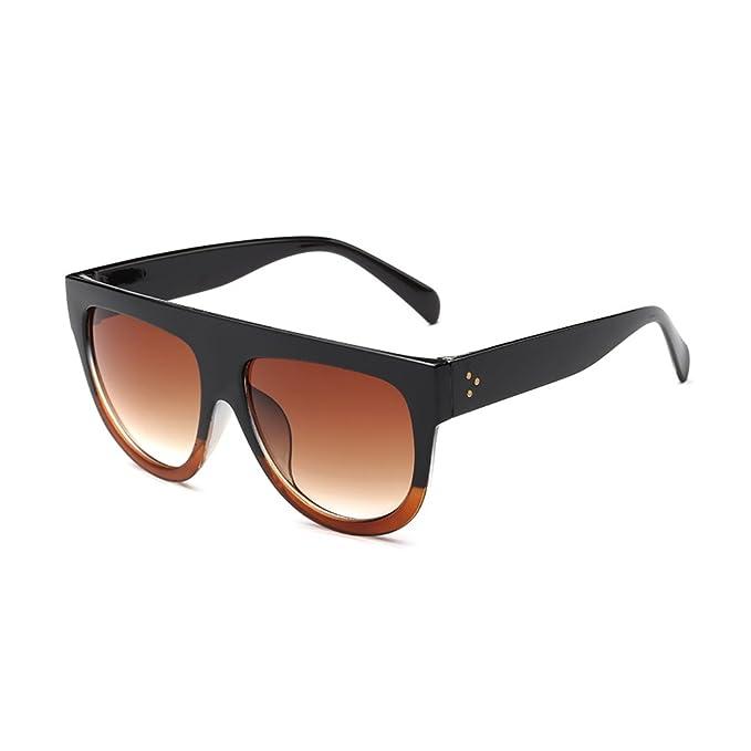 2c8377d980e Coolsunny Women s Fashion Flat Top Square Aviator Gradient Frame Sunglasses  CS6618 (Black-Brown