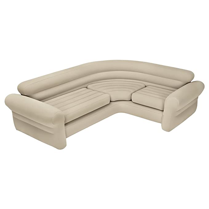 Intex 68575N, Sofá rinconera hinchable, 257x203x76 cm, color crema, three_seats, pvc - 97%; rayon - 3%