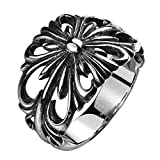 TIDOO Jewelry Punk Series Mens Vintage Gothic Biker Ring Chrome Hearts Style Silk knot Antique Black Silver 316L Stainless Steel Wide Cast Rock Finger Band