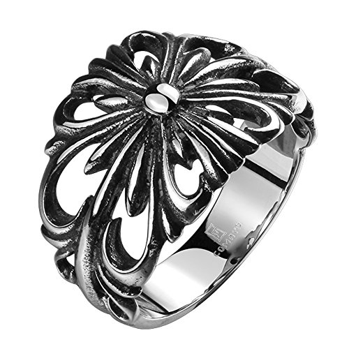 TIDOO Jewelry Punk Series Mens Vintage Gothic Biker Ring Chrome Hearts Style Silk knot Antique Black Silver 316L Stainless Steel Wide Cast Rock Finger Band ()