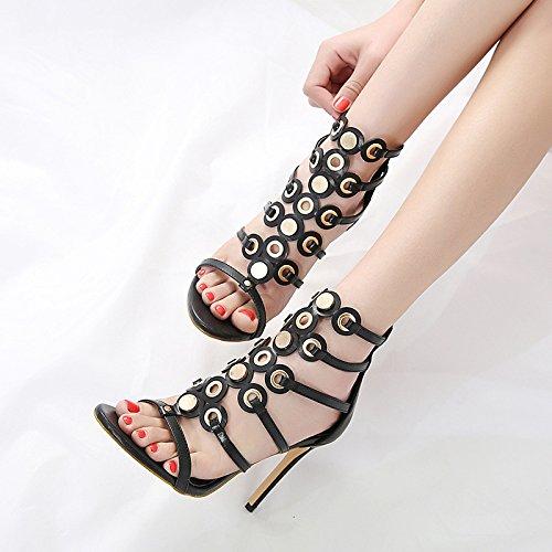 à De Toe Creux Femmes Mesdames Sandales Black Chaussures Hauts Robe Fête Open Sandales Black Mariage Strappy Talons Chaussures Stiletto De qTqwEtWxPr