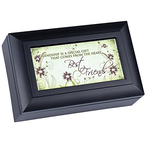 Cottage Garden Best Friends Friendship Matte Black Jewelry Music Box Plays Wonderful World