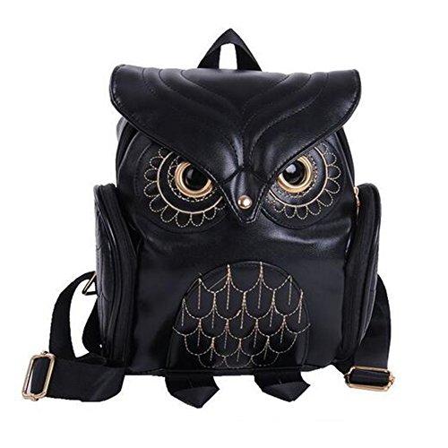 Fashion Owl Cartoon Backpack Girl's Pu Leather Mini Bag (Black)
