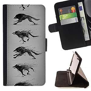 BullDog Case - FOR/Apple Iphone 5 / 5S / - / WOLF RUNNING DRAWING PENCIL ART WILD DOG /- Monedero de cuero de la PU Llevar cubierta de la caja con el ID Credit Card Slots Flip funda de cuer
