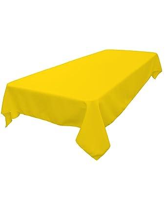 Good LinenTablecloth 60 X 102 Inch Rectangular Polyester Tablecloth Lemon