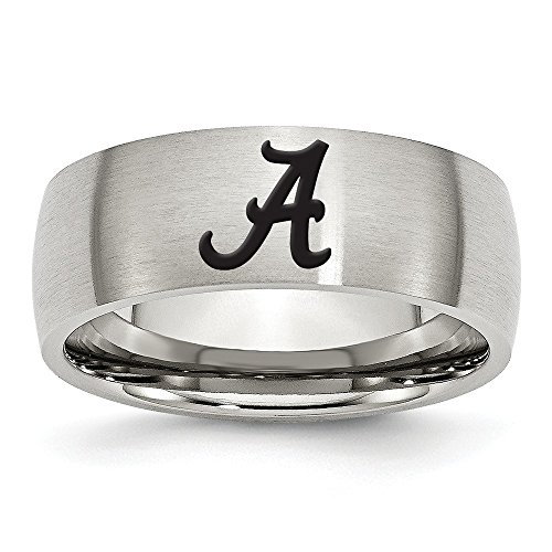 (Jewel Tie Size 8 - Stainless Steel University of Alabama Laser Etch Ring (8mm))