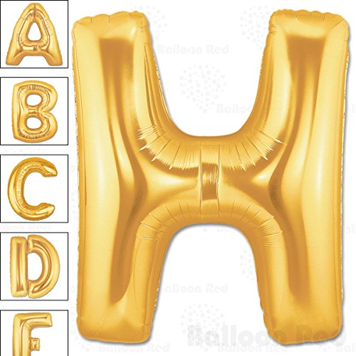 40 Inch Giant Jumbo Helium Foil Mylar Balloons for Party Decorations (Premium Quality), Matte Gold, Letter H