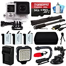 GoPro HERO4 Hero 4 Black Edition 4K Action Camera Camcorder with 64GB MicroSD Card, 3x Battery with Charger, Opteka X-Grip, LED Light, Car Mount, HDMI Cable, Selfie Stick, Case, Cleaning Kit CHDHX-401