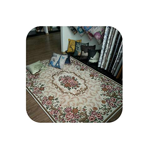 Fashion Anti-Skid Jacquard Carpet for Living Room/Dining Bedroom Mat Floral Modern Pattern Absorbent Non-Slip Modern Carpet ()